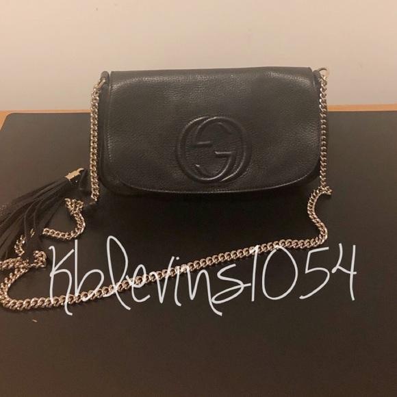 Gucci Handbags - Authentic Gucci Soho Shoulder Bag, Black